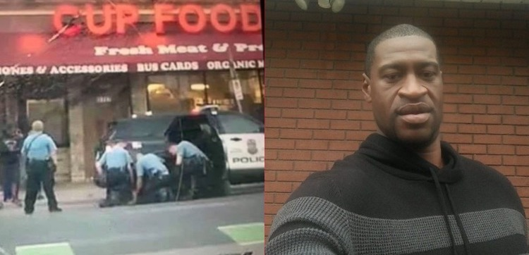 Photo: Collage of images of George Floyd and the video showing four police officers while one is kneeling on the back of Floyd's head and neck. Credit: heavy.com