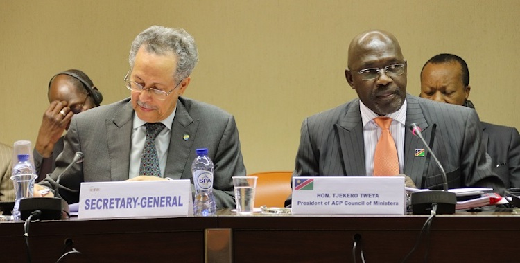 Photo: ACP Secretary General Dr. Patrick Gomes (left) and Tjekero Tweya Minister of Industrialisation, Trade and SME Development of the Republic of Namibia and President of the ACP Council of Ministers) (right). Credit: ACP