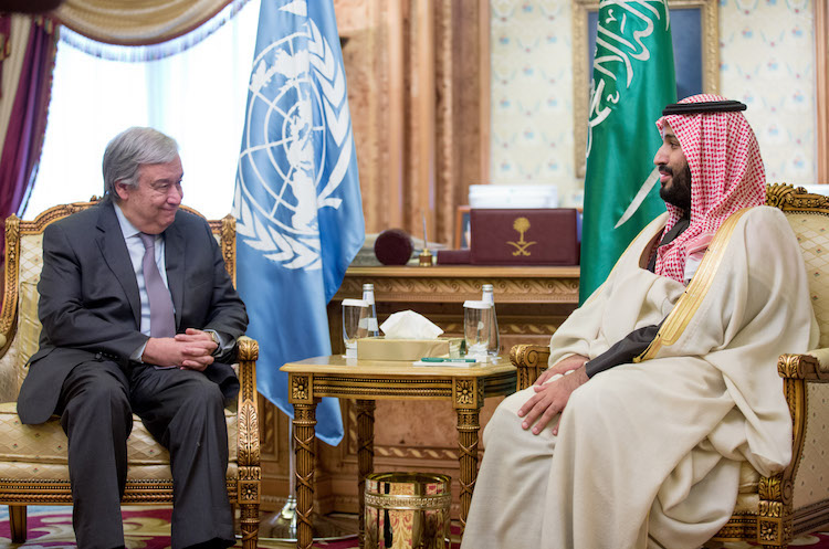 Photo: UN Secretary-General António Guterres (left) meets with Crown Prince Mohammed bin Salman bin Abdulaziz Al Saud on 12 February 2017 in Riyadh, Saudi Arabia.