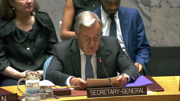Photo: UN Chief addressing the Security Council on 29 August 2018, Snapshot UN WebTV.