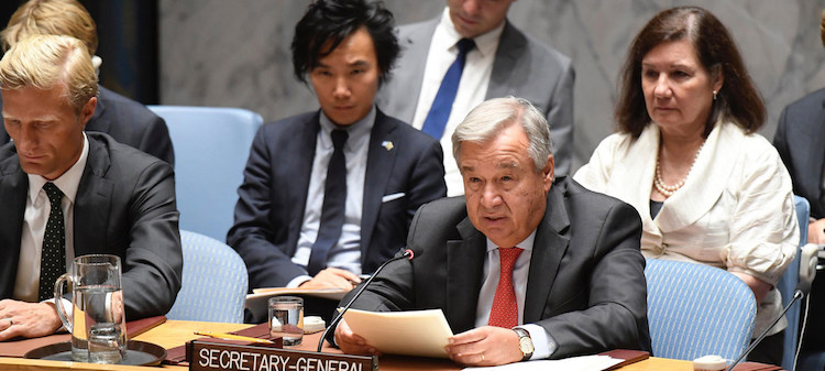 Photo: Secretary-General António Guterres addresses the Security Council meeting on the situation in Myanmar, commemorating the one-year anniversary of the beginning of the Rohingya crisis in 2017. UN Photo/Evan Schneider.
