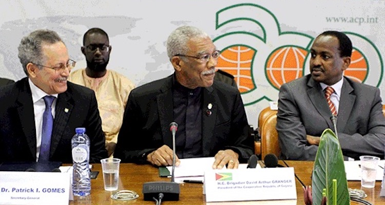 Photo (left to right): ACP Secretary-General P. I. Gomes; President of Guyana, Brigadier David A. Granger addressing the ACP Committee of Ambassadors; and Ethiopian Ambassador Teshome Toga Chanaka, Chair of the ACP Committee of Ambassadors for the period 1 February 2017 - 31 July 2017. Credit: ACP