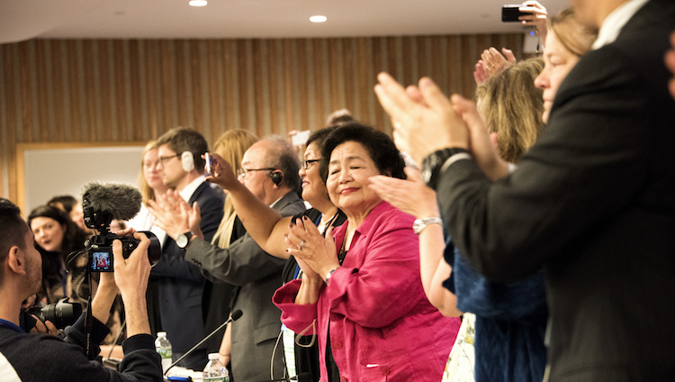 Photo: Civil Society Applauds UN nuclear ban treaty adoption 7th July 2017. Credit: Clare Conboy | ICAN.