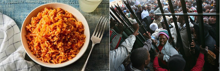 Collage of pictures of classic Nigerian Jollof rice from Food 52 (left) and Unrest over the deportation of 723 Nigerians living in Ghana from African Liberty, March 6, 2019.