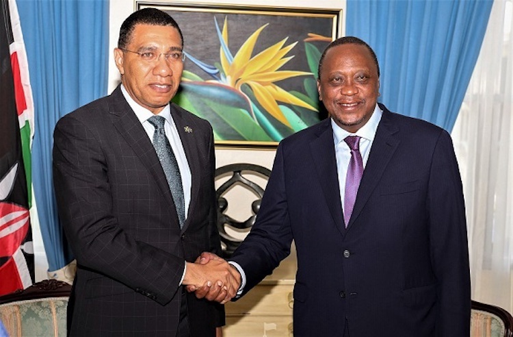 Photo: Prime Minister Andrew Holness of Jamaica and President Uhuru Kenyatta of Kenya.