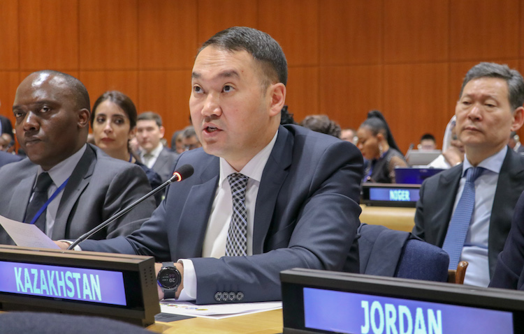 Photo: Kazakh Deputy Minister of Foreign Affairs, Yerzhan Ashikbayev, addressing the opening of the Third Preparatory Session for the 2020 NPT Review Conference. Credit: Kazakhstan's Ministry of Foreign Affairs.