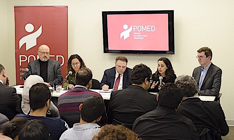 "Photo: Jamal Khashoggi offers remarks on ""Mohammed bin Salman's Saudi Arabia: A Deeper Look"" during Project on Middle East Democracy (POMED) on 21 March 2018 in Washington, DC. Credit: Wikimedia Commons."