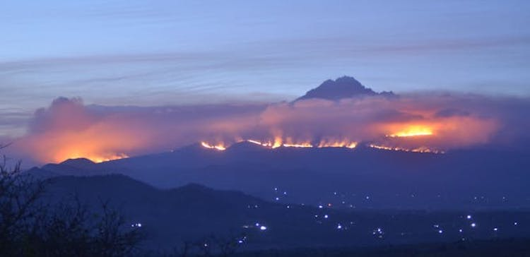 Photo: Fire at Kilimanjaro National Park, United Republic of Tanzania. Credit: TANAPA/TANAPA