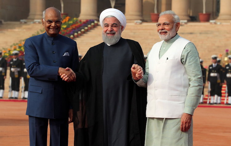 "Photo: Indian President Ram Nath Kovind (left), Iranian President Hassan Rouhani (centre) and Prime Minister Narendra Modi on 17 February 2018 in New Delhi. The three-day ""substantive and productive"" talks helped boost cooperation in areas of defense and security, trade and investment, and energy. Rouhani and Modi also deliberated on regional situations in their wide-ranging talks. Credit: media.mehrnews.com"