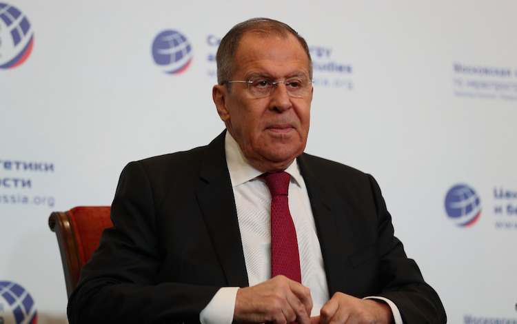 Photo: Russian Foreign Minister Sergey Lavrov addressing a nonproliferation conference in Moscow on 8 November 2019. Source: Russian Ministry of Foreign Affairs.