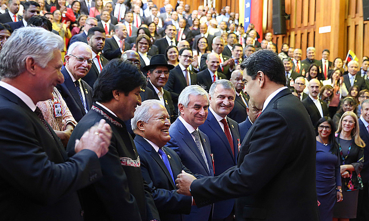 Photo: El Salvador President Salvador Sánchez Cerén greets Venezuela's Nicolas Maduro at his inauguration on 10 January 2019. Source: Wikimedia Commons.