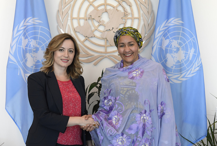 Photo: Deputy Secretary-General Amina Mohamed (right) meets with Senida Mesi, Deputy Prime Minister of Albania. 16 July 2018,. United Nations, New York. UN Photo/Evan Schneider.