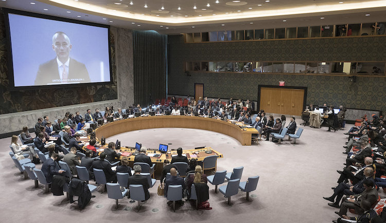 Photo: A wide view of the Security Council meeting as Nickolay Mladenov (on screen), UN Special Coordinator for the Middle East Peace Process, briefs the Council on the situation in the Middle East, including the Palestinian question. (18 October 2018 - UN Photo/Rick Bajornas)