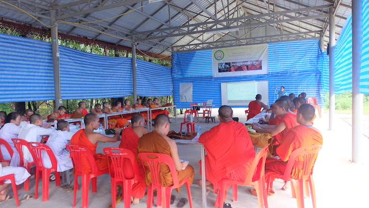 Photo: Monks and nuns taking a Buddhist Volunteer Spirit for Communication training course at the BDP's Training Center, Wat Nakhoun Noi, Nasaythong District, Vientiane Credit: Toung Eh Synuanchanh.
