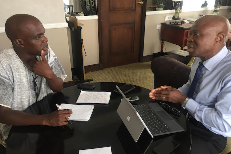 IFAD President Gilbert Houngbo being interviewed by IDN-INPS Southern Africa correspondent Jeffrey Moyo in Harare, Zimbabwe, on December 3, 2018.
