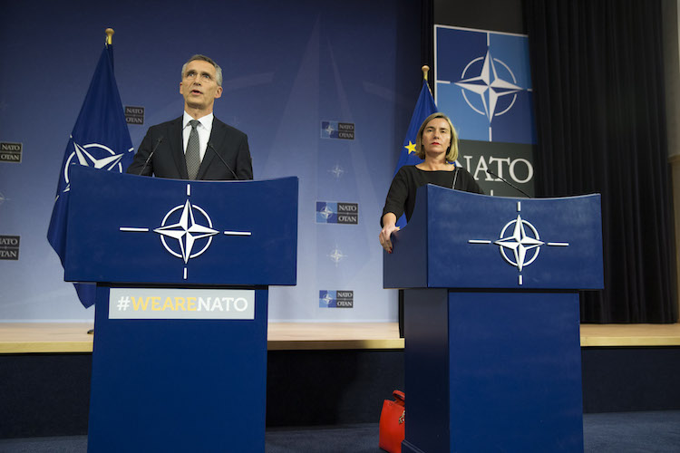 Photo: NATO Secretary General Stoltenberg and EU High Representative addressing a press conference on December 5, 2017. Credit: NATO