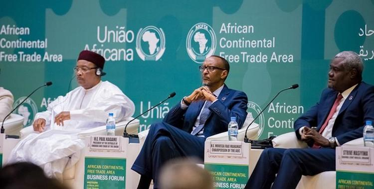 Photo: Rwandan President Kagame with the President of Niger and Champion of the CFTA Process, Mahamadou Issoufou, and the Chairperson of the African Union Commission, Moussa Faki Mahamat.  Credit: The New Times Rwanda.
