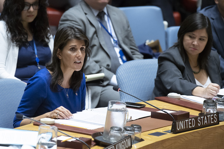 Photo: Nikki R. Haley, Permanent Representative of the United States to the UN, addressing the Security Council meeting on 9 July 2018. Credit: UN Photo/Eskinder Debebe.
