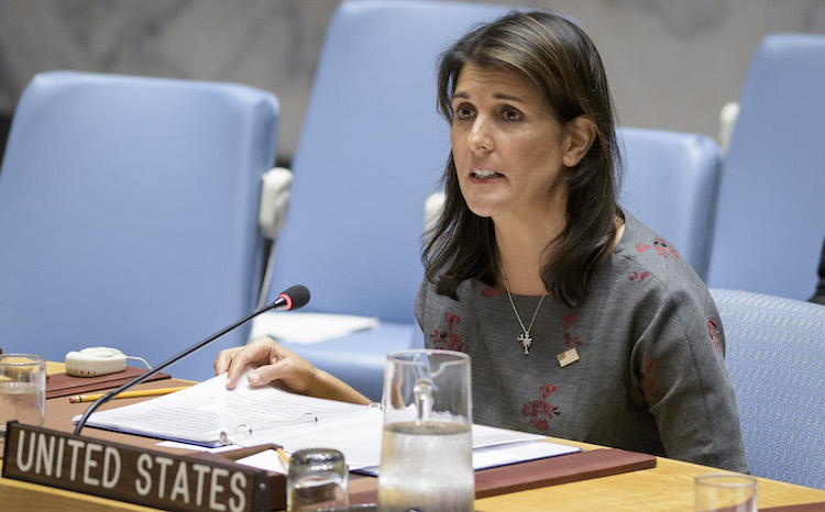 Photo: Nikki R. Haley, U.S. Permanent Representative to the UN and President of the Security Council for the month of September, chairs the Security Council meeting on the situation in the Middle East (Syria). 06 September 2018. UN Photo/Manuel Elias.
