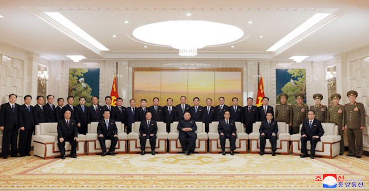 Photo: North Korea's Kim Jong Un has photo session with newly-elected members of Party and State leadership bodies. Credit: KCNA.
