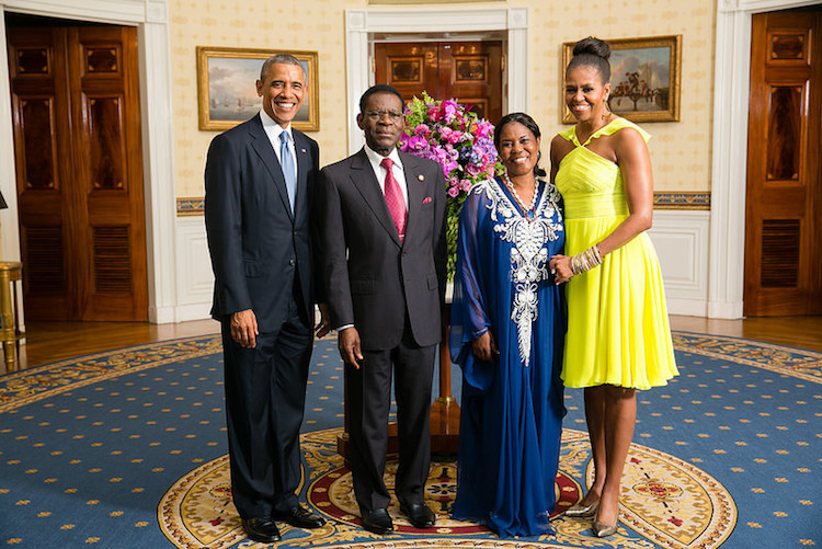 Photo: President Barack Obama and Teodoro Obiang Nguema Mbasogo, President of the Republic of Equatorial Guinea with their wives in the Blue Room during a U.S.-Africa Leaders Summit dinner at the White House, August 5, 2014. Credit: Wikimedia Commons.