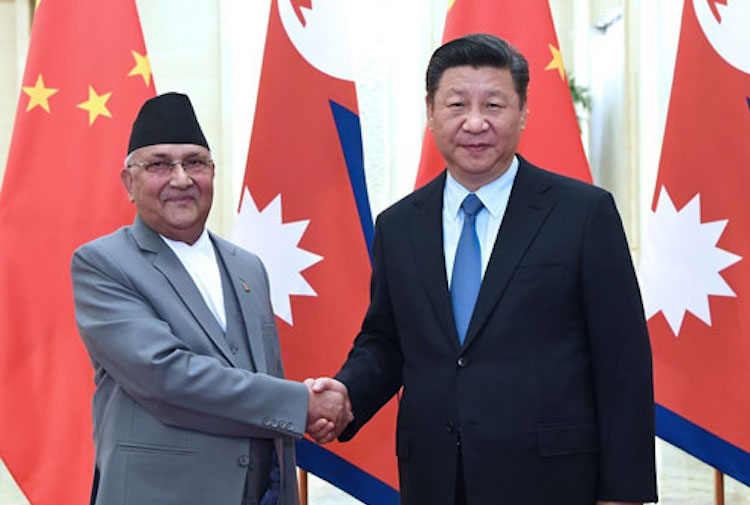 Photo: On June 20, 2018, Chinese President Xi Jinping meets with Nepal's Prime Minister K.P. Sharma Oli at the Great Hall of the People in Beijing. Credit: Ministry of Foreign Affairs China.