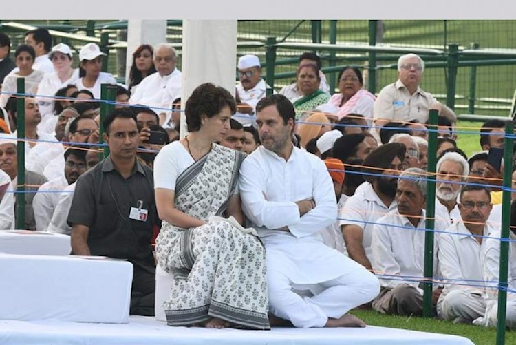 Photo: Congress president Rahul Gandhi with his sister and party general secretary Priyanka Gandhi Vadra. Credit: Outlook