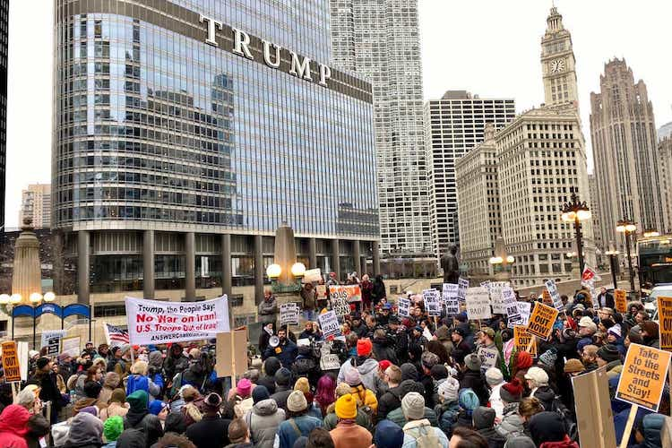 Photo: Protestors gather outside Trump Tower to demonstrate against US/Middle East relations in Chicago. Credit: Grack Hauck, USA TODAY