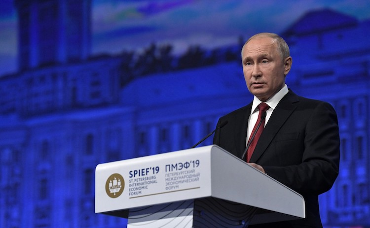 Photo: Russian President Vladimir Putin addressing the St. Petersburg International Economic Forum (SPIEF-19). Credit: Russian President's Website.