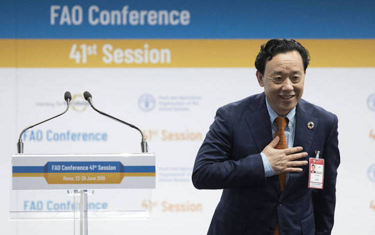 Photo: Qu Dongyu of China was elected Director-General of the Food and Agriculture Organization of the United Nations (FAO) on June 23. Credit: FAO