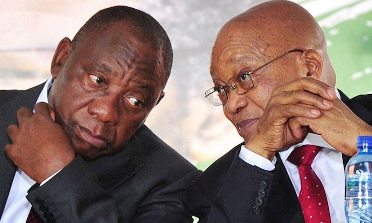 Photo: Cyril Ramaphosa (L) and Jacob Zuma before his ouster. Credit: Face2FaceAfrica