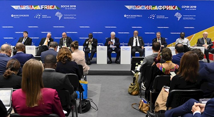 Photo: Discussion on the role of media in Russian–African relations. Credit: Roscongress Foundation | Evgeniy Reutov.