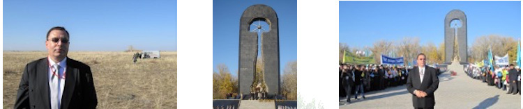 "Collage of photos of the author in his IAEA capacity at the Semipalatinsk ""polygon"" on 29 August 2011, with 'Stronger than Death' monument in Semey in the centre. It was erected in 2001 in memory of the victims of nuclear testing at Semipalatinsk. Photos by Tariq Rauf."