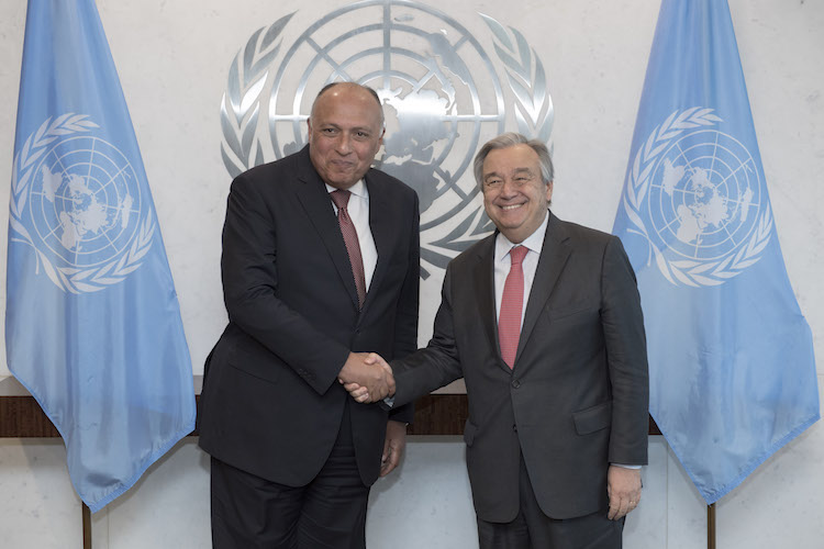 Photo: Sameh Hassan Shokry Selim, Minister for Foreign Affairs of Egypt (left) with UN Secretary-General António Guterres (right) at the UN. Credit: UN Photo/Mark Garten