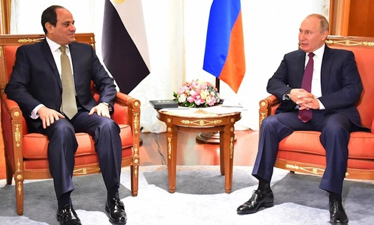 "Photo: Commenting the latest, fourth meeting between President Abdel Fatah al-Sisi and Russian counterpart Vladimir Putin in October 2018, Abu Dhabi newspaper commented: ""Egypt sees in Russia a reliable and consistent ally…"" Source: Egypt Today."