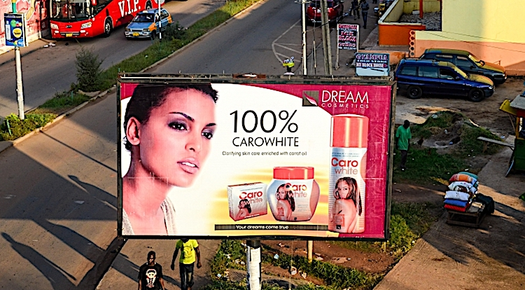 Photo: An ad of a skin whitening cosmetic product in Kumasi, Ghana. Source: Africa Renewal.