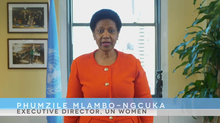 Image: Snapshot of the video statement of Phumzile Mlambo-Ngcuka, UN Women Executive Director. Source https://www.youtube.com/watch?v=otfF4szlESo