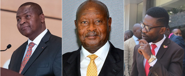 Photo: A collage of pictures from Wikimedia Commons of CAR President Touadera (left), President Museveni (centre) and (right) opposition leader Bobi Wine.