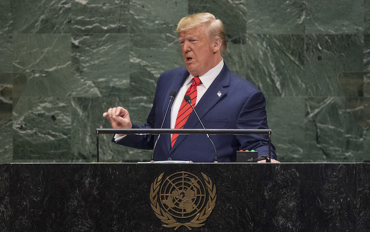 Photo: U.S. President Donald J. Trump addresses the general debate of the General Assembly's seventy-fourth session. 24 September 2019. United Nations, New York. Credit: UN Photo/Cia Pak