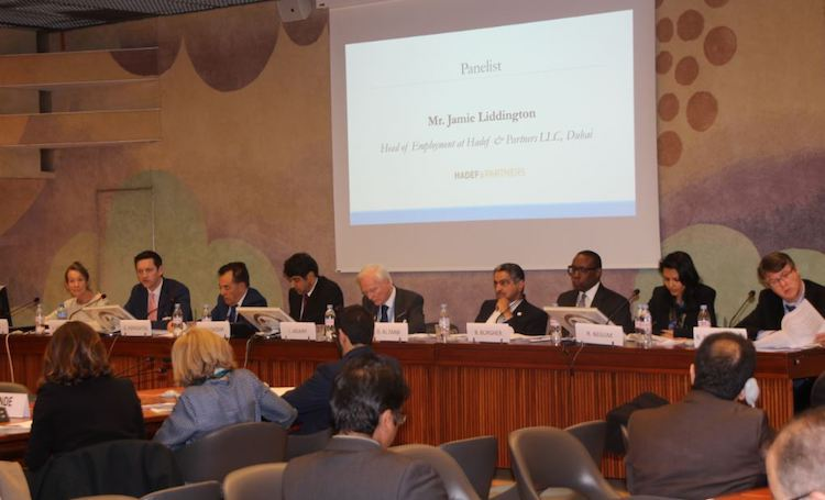 Photo: Panellists discussing UAE initiative to enhance access to justice for foreign workers. Credit: Geneva Centre.