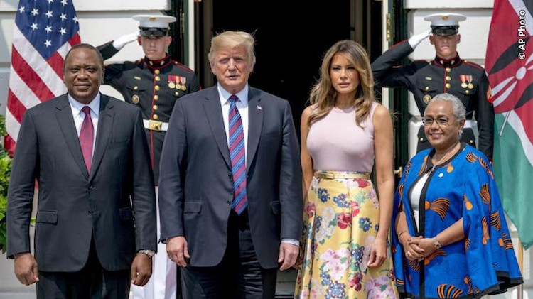 Photo: President Donald Trump and first lady Melania Trump pose for members of the media with Kenyan President Uhuru Kenyatta and his wife Margaret Kenyatta as they arrive at the White House, August 27, 2018, in Washington. Credit: U.S. Department of State.