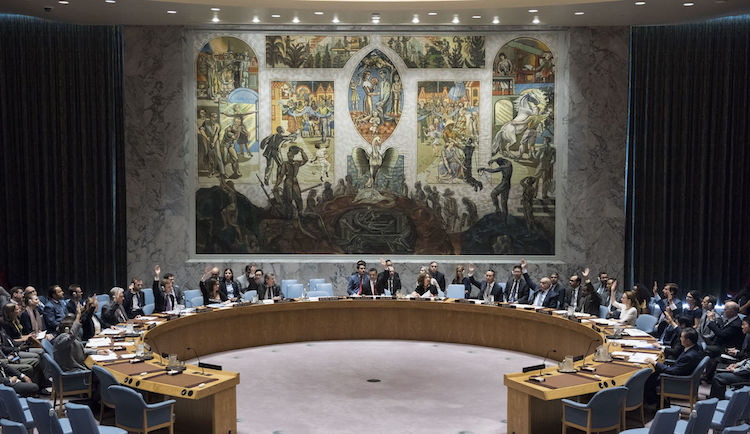 Photo: Security Council Chamber at the United Nations Headquarters in New York City. Credit: Wikimedia Commons.