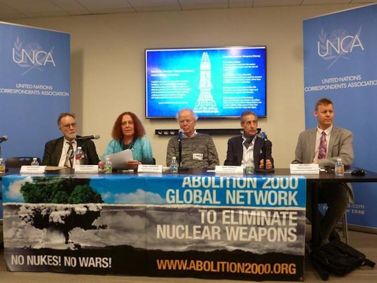 Photo: Western States Legal Foundation Executive Director Jackie Cabasso, second from left, at the press conference at the United Nations on March 28. On her right is John Burroughs, and on her left are: Holger Guessfeld, Gene Seidman and Alyn Ware.