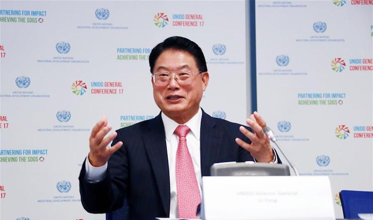 Photo: UNIDO Director General Li Yong addressing a press conference in Vienna, Austria, on November 27, 2017. Credit: Xinhua/Pan Xu