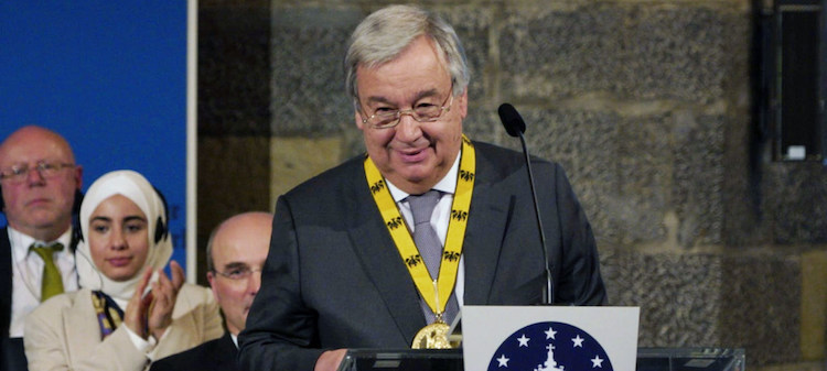 Photo: UN Secretary-General António Guterres receives the Charlemagne Prize in Aachen, Germany on 30 May 2019. Credit: UNFCCC/James Dowson.