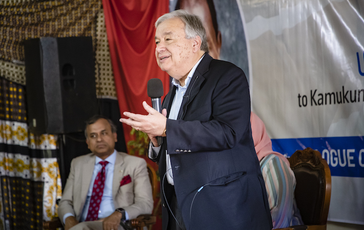 Photo: Secretary-General António Guterres speaks during a dialogue with civil society organizations focused on youth and gender empowerment, women leadership, prevention and countering violent extremism and promotion of interfaith dialogue, while visiting the Kamukunji Constituency in Nairobi, Kenya, on 9 July 2019. Credit: UN Photo | Duncan Moore.