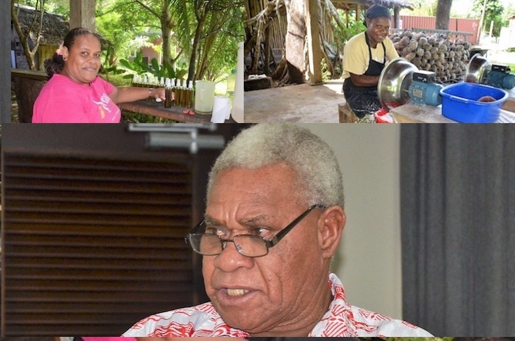 Photo: IDN-INPS collage of pictures by from Commonwealth Secretariat. Left: Aelan Ltd hires local women from the next village to make organic products. Right: Adding value to coconut. Bottom: Vanuatu Deputy Prime Minister Bob Loughman wants the country to focus on value addition and moving up global value chains.