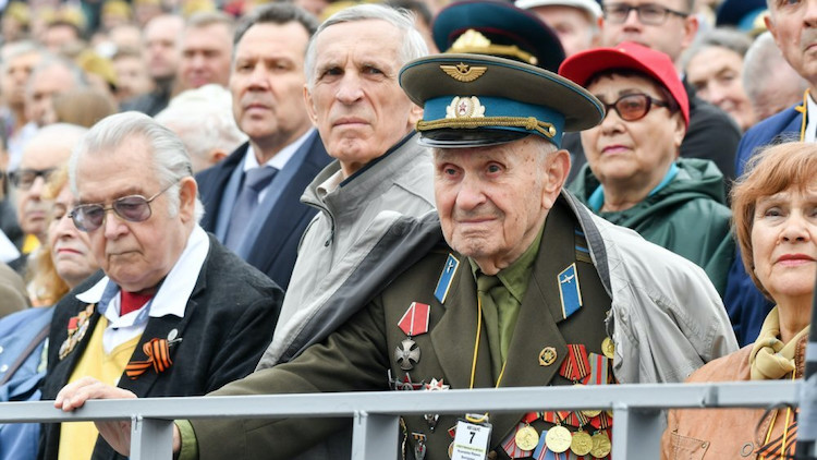 "Photo: Veterans in a letter called for Putin to ""take a difficult but, as we see it, fair decision to hold the military parade on another date"". Putin has meanwhile agreed to defer the military parade. Credit: Sergei Kiselyov/Moskva News Agency"