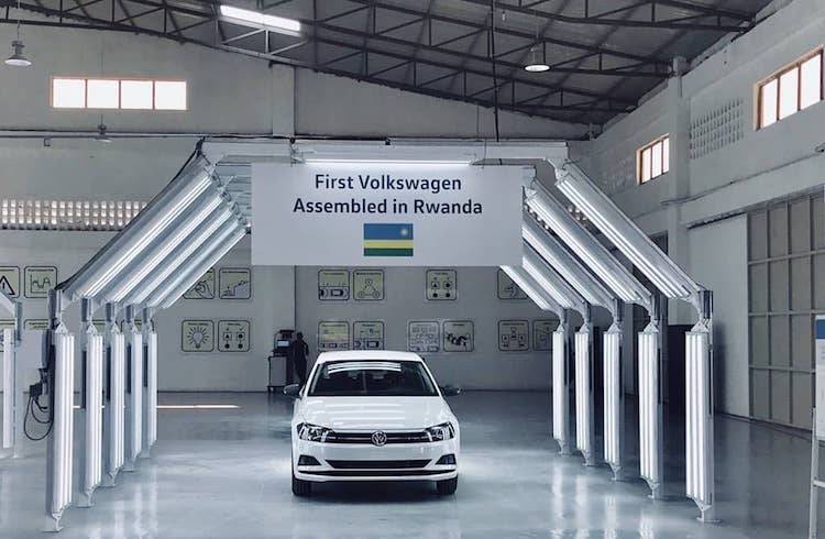 Photo: VW Polo assembled in Rwanda in the showroom. Credit: ktpress.rw