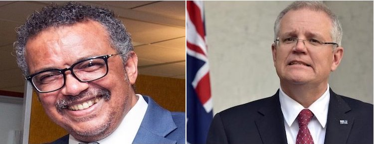 Photo: WHO chief Tedros Adhanom Ghebreyesus (left) and Australian PM Scott Morrison (right) who is spearheading an international enquiry into China's lack of transparency and the WHO's mistakes in regard to COVID-19. A collage of pictures from Wikimedia Commons and Spotlght Nepal.